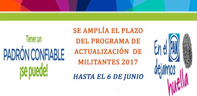 Se amplía el plazo del Programa de Actualización del Padrón de Militantes 2017