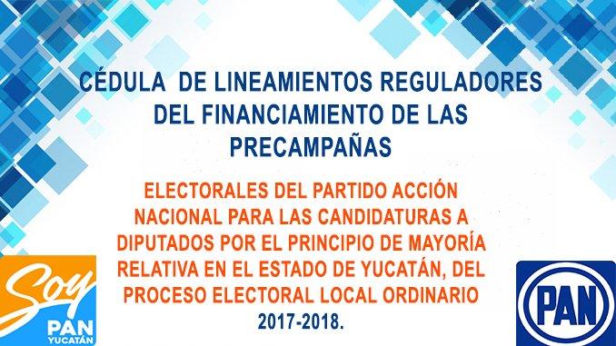 CÉDULA  DE LINEAMIENTOS REGULADORES DEL FINANCIAMIENTO DE LAS PRECAMPAÑAS ELECTORALES DEL PARTIDO ACCIÓN NACIONAL PARA LAS CANDIDATURAS A DIPUTADOS POR EL PRINCIPIO DE MAYORÍA RELATIVA EN EL ESTADO DE YUCATÁN, DEL PROCESO ELECTORAL LOCAL ORDINARIO  2017-2018.
