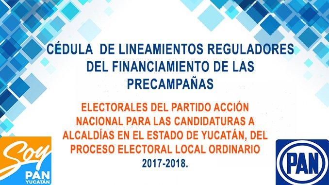 CÉDULA  DE LINEAMIENTOS REGULADORES DEL FINANCIAMIENTO DE LAS PRECAMPAÑAS ELECTORALES DEL PARTIDO ACCIÓN NACIONAL PARA LAS CANDIDATURAS A ALCALDÍAS EN EL ESTADO DE YUCATÁN, DEL PROCESO ELECTORAL LOCAL ORDINARIO  2017-2018.