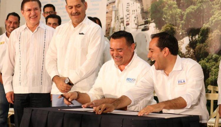 Firma del convenio Declaración por Mérida 2050 por parte de Renán Barrera y Maurcio Vila
